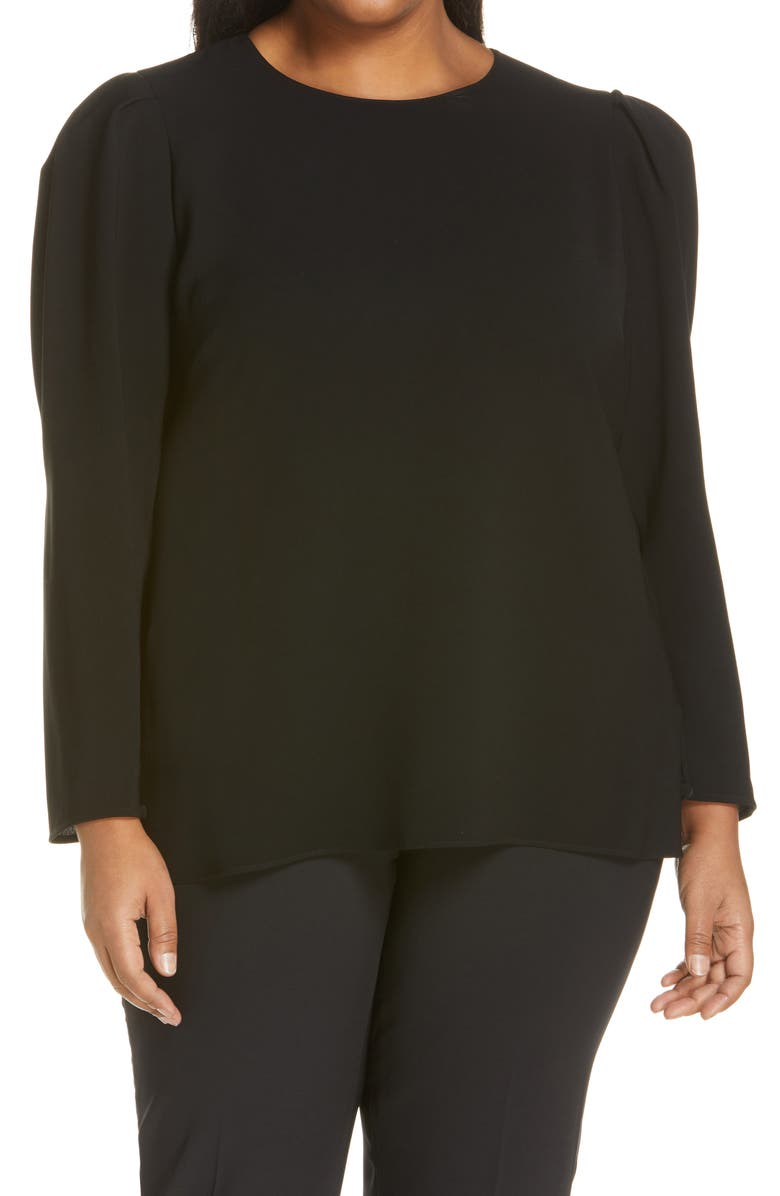 LAFAYETTE 148 NEW YORK Gia Finesse Crepe Blouse, Main, color, Black