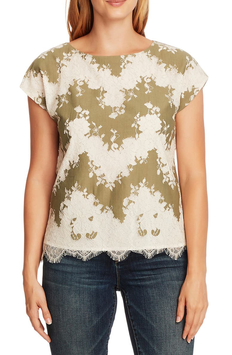 VINCE CAMUTO Mixed Media Short Sleeve Top, Main, color, 300