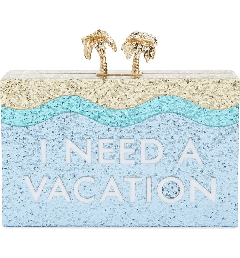 KATE SPADE NEW YORK 'i need a vacation' box clutch, Main, color, 400