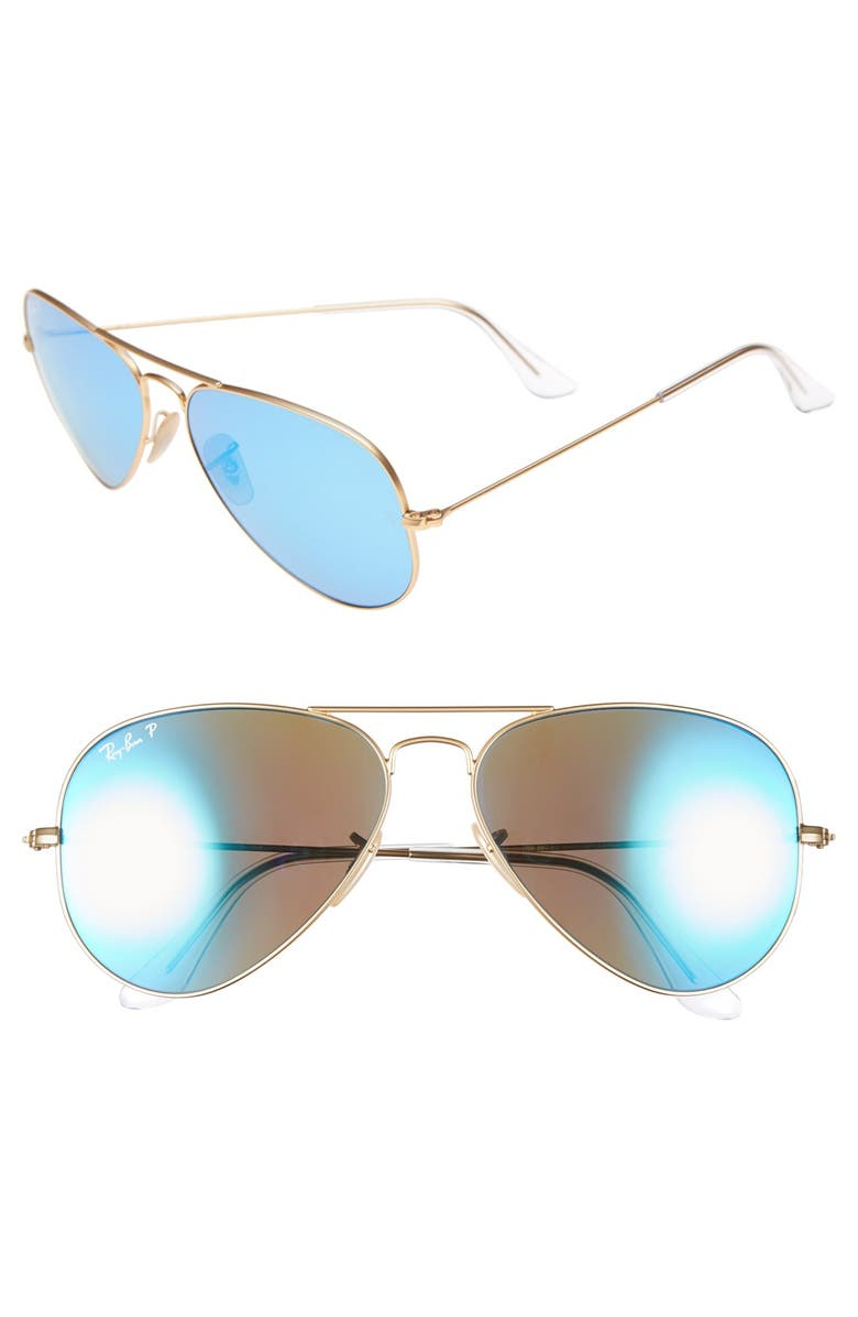 RAY-BAN Standard Icons 58mm Mirrored Polarized Aviator Sunglasses, Main, color, GOLD/ BLUE MIRROR