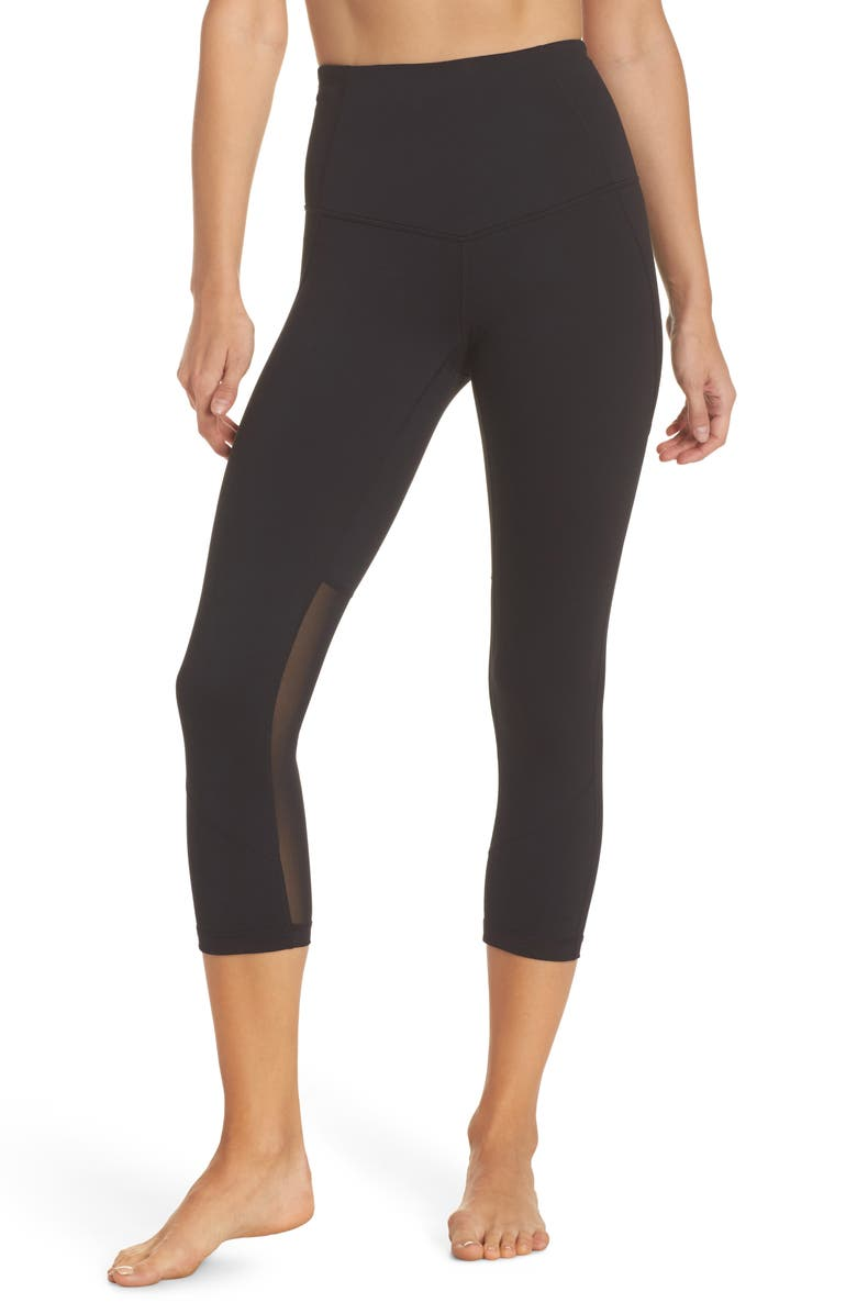 ZELLA 'Live In - Sultry' High Waist Mesh Crop Leggings, Main, color, 001