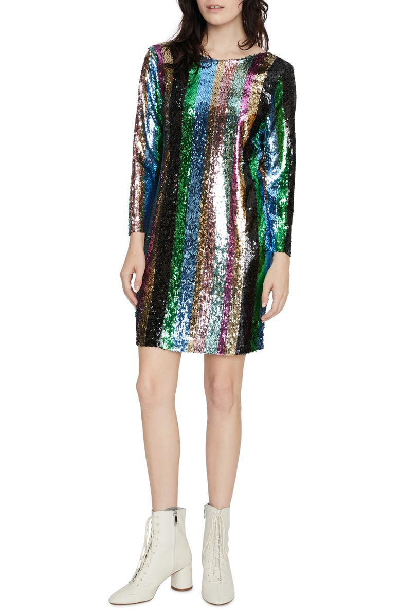 SANCTUARY Over the Rainbow Sequin Stripe Long Sleeve Minidress, Main, color, 040