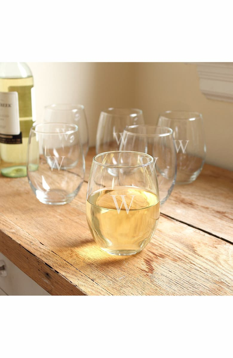 CATHY'S CONCEPTS Set of 6 Monogram Stemless Wine Glasses, Main, color, W