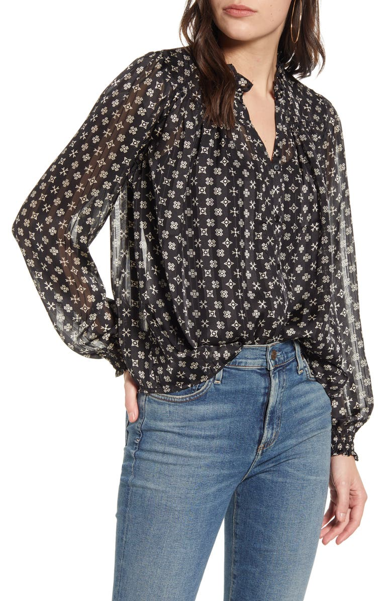 SCOTCH & SODA Printed Ruffle Chiffon Top, Main, color, 001