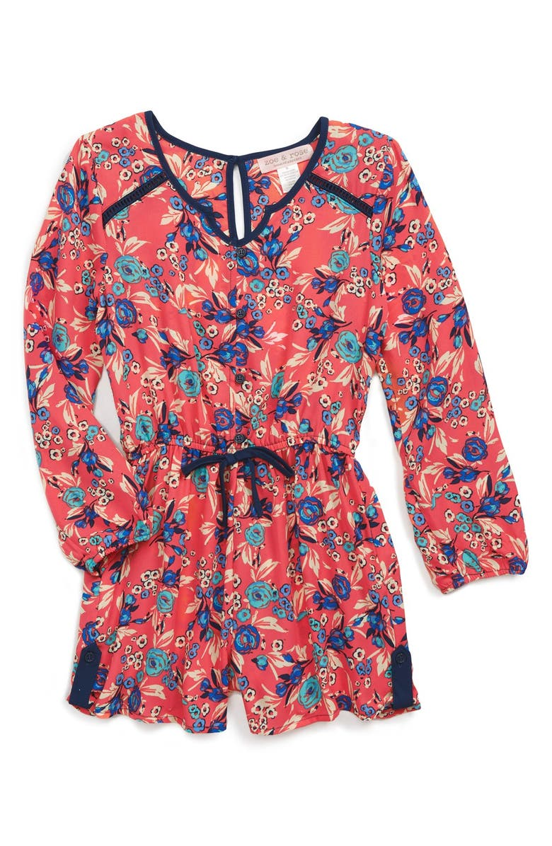 ZOE AND ROSE Band of Gypsies Floral Print Romper, Main, color, 950