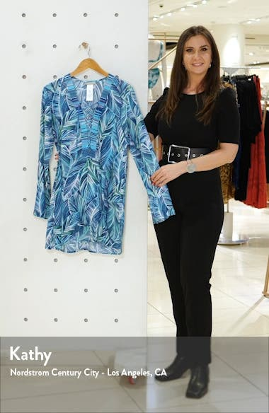 Sketched Leaves Long Sleeve Tunic Cover-Up, sales video thumbnail