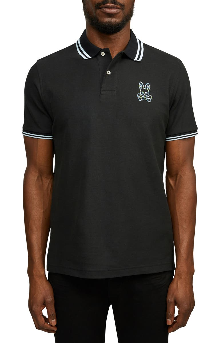 PSYCHO BUNNY Paget Tipped Short Sleeve Piqué Polo, Main, color, 001