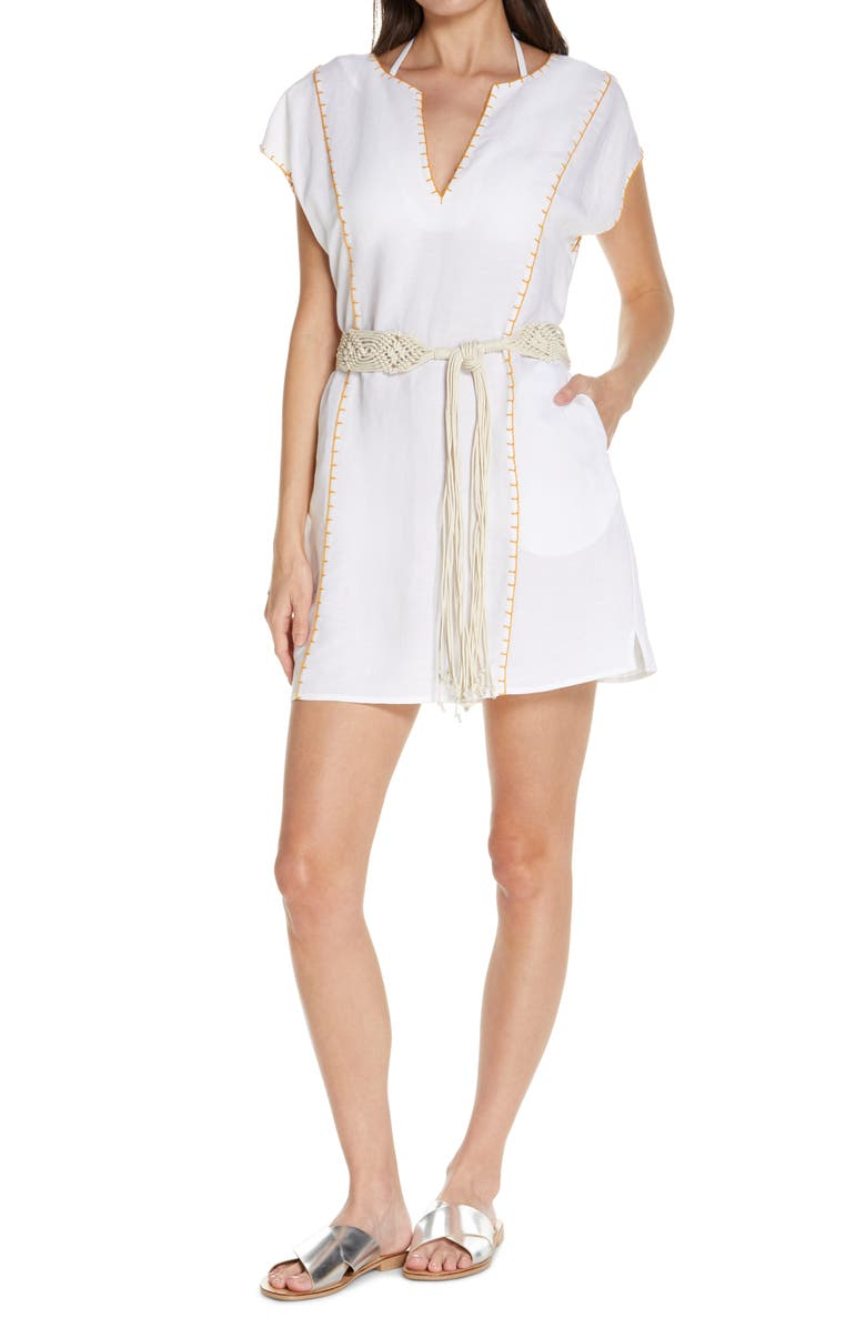 TORY BURCH Whipstitch Cover-Up Tunic, Main, color, WHITE
