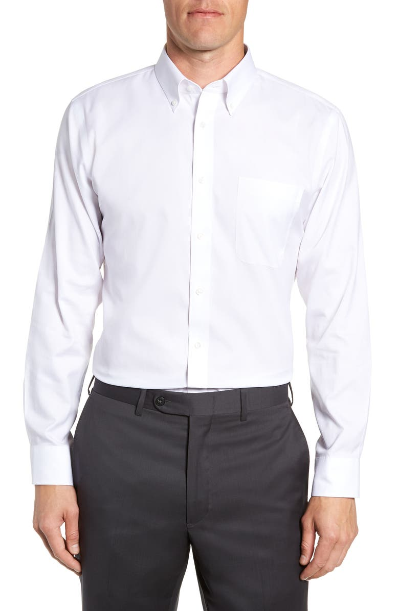 NORDSTROM Smartcare<sup>™</sup> Trim Fit Dress Shirt, Main, color, 100