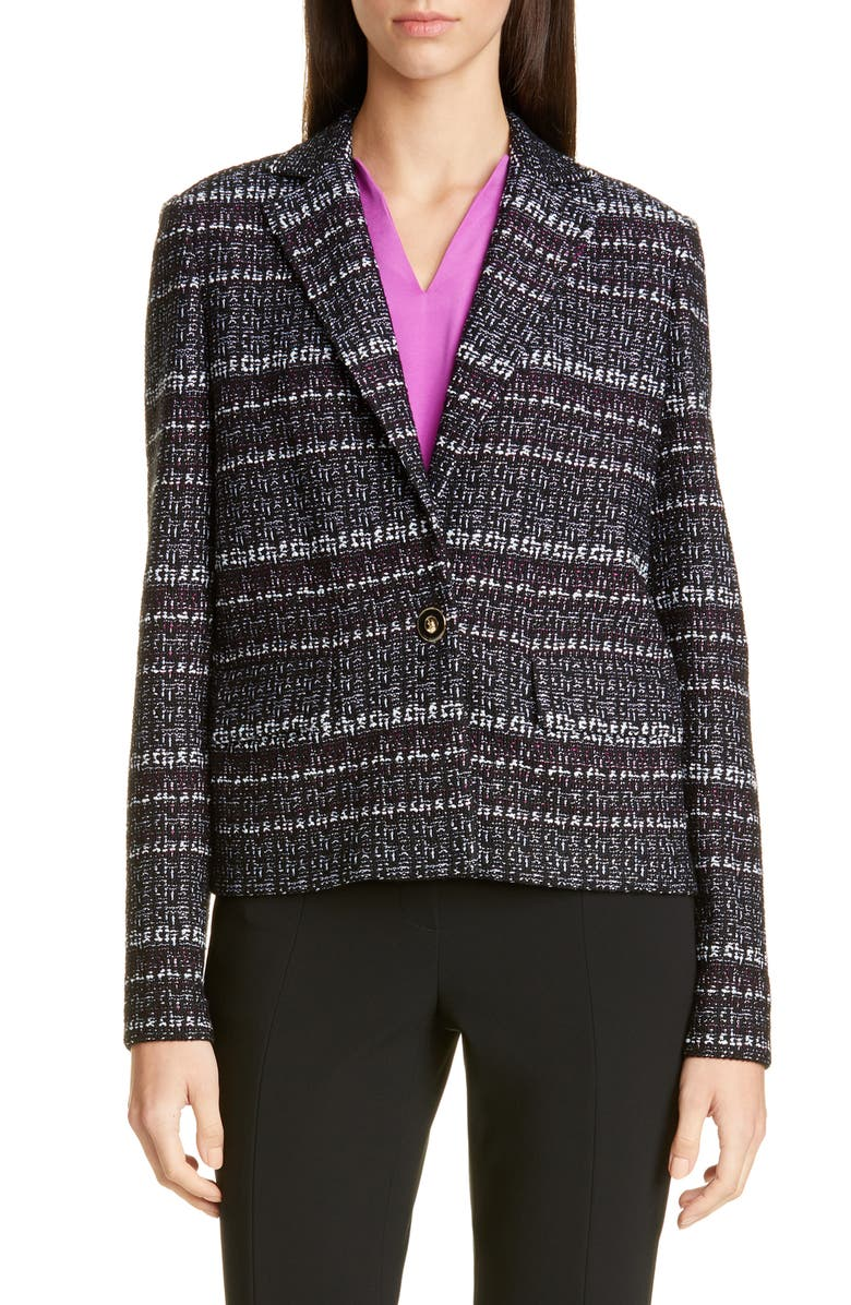 ST. JOHN COLLECTION Texture Bouclé Tweed Short Jacket, Main, color, 001