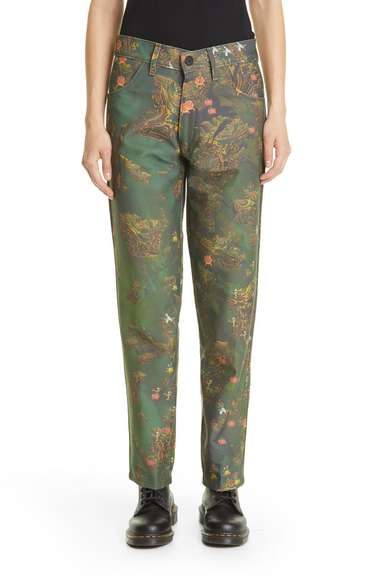 LIBERAL YOUTH MINISTRY Unisex Nature Print Jeans, Main, color, GREEN/BROWN
