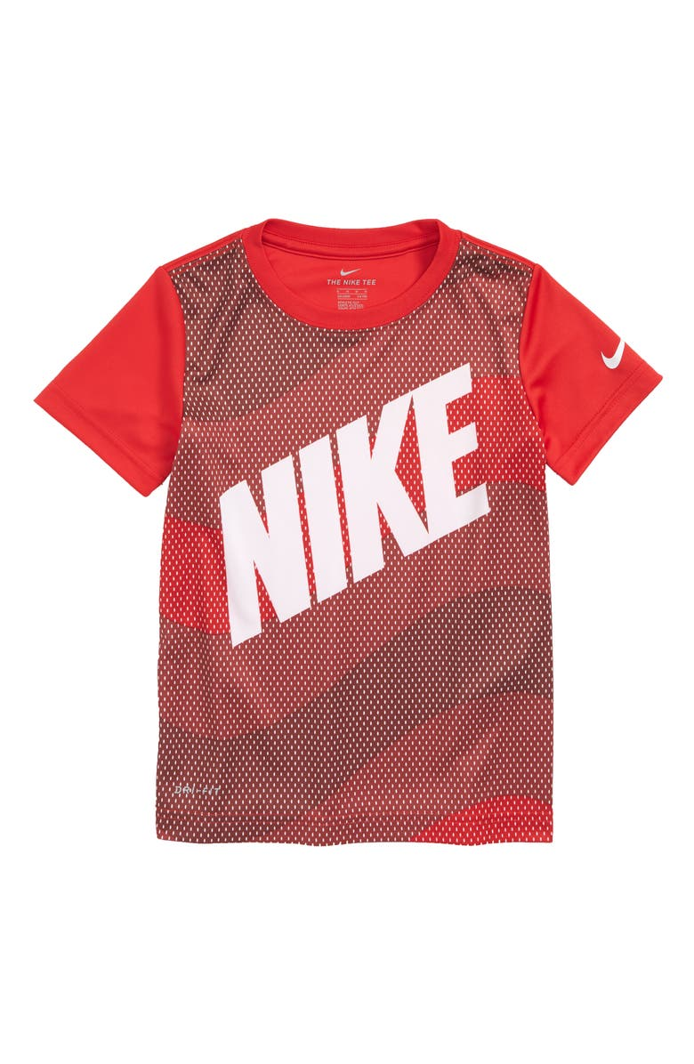 NIKE Dry Wavey Mesh Graphic T-Shirt, Main, color, UNIVERSITY RED
