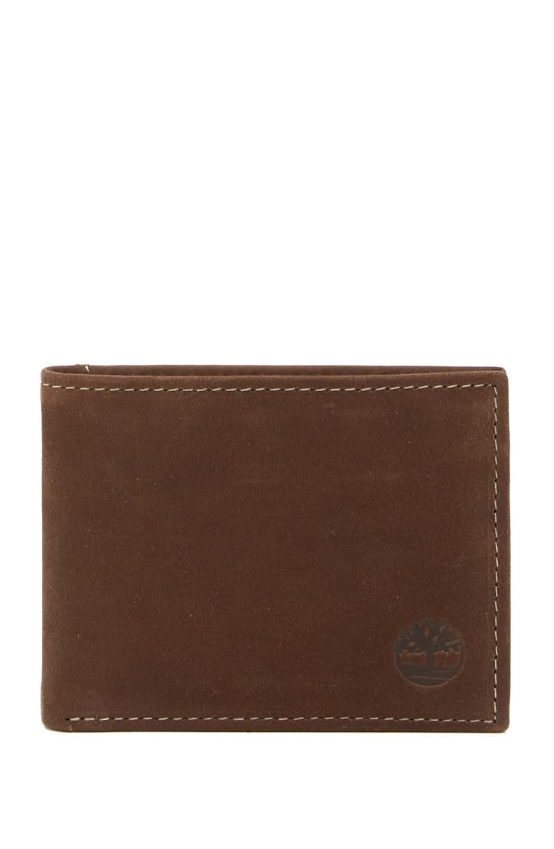 TIMBERLAND Nubuck Slimfold Leather ID Wallet, Main, color, 01-BROWN