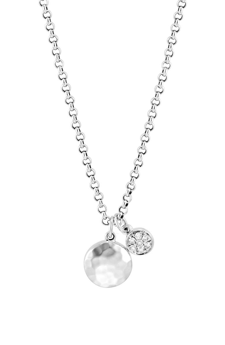 JOHN HARDY Dot Hammered Double Pendant Rolo Chain Necklace, Main, color, DIAMOND/ SILVER