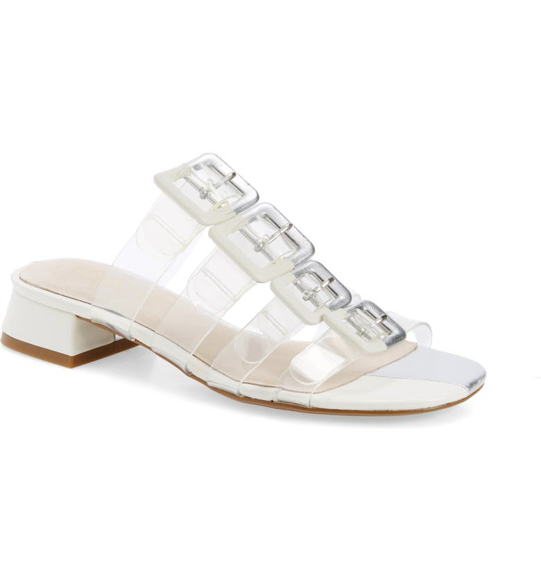 CECELIA NEW YORK Lincoln Strappy Clear Slide Sandal, Main, color, SILVER ALABASTER