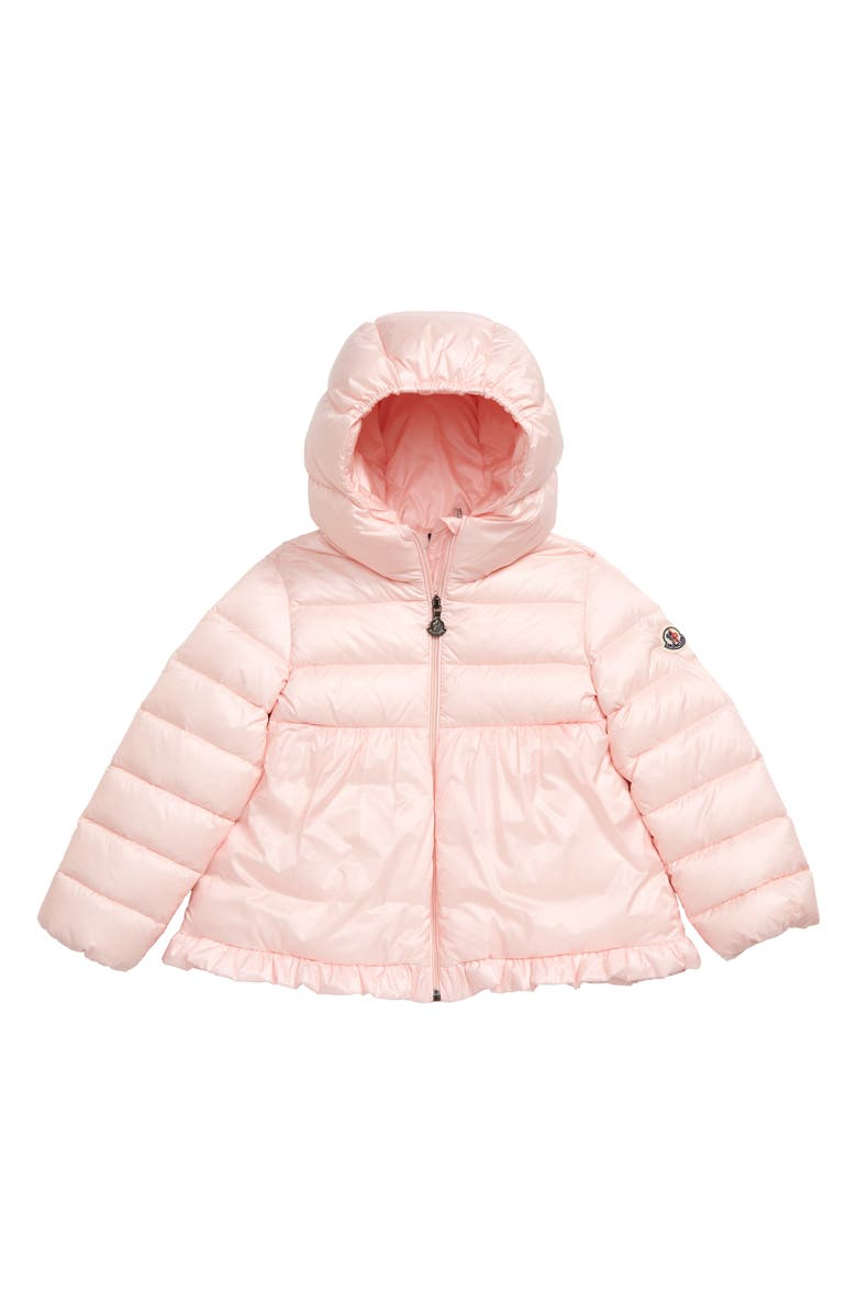 MONCLER Odile Hooded Water Resistant Down Jacket, Main, color, LIGHT PINK