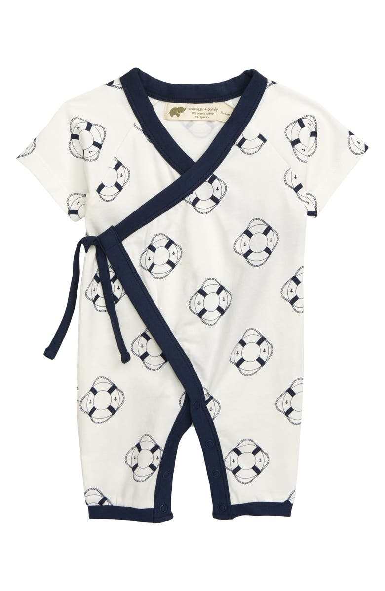 MONICA + ANDY Sweet Baby Stretch Organic Cotton Wrap Romper, Main, color, 100