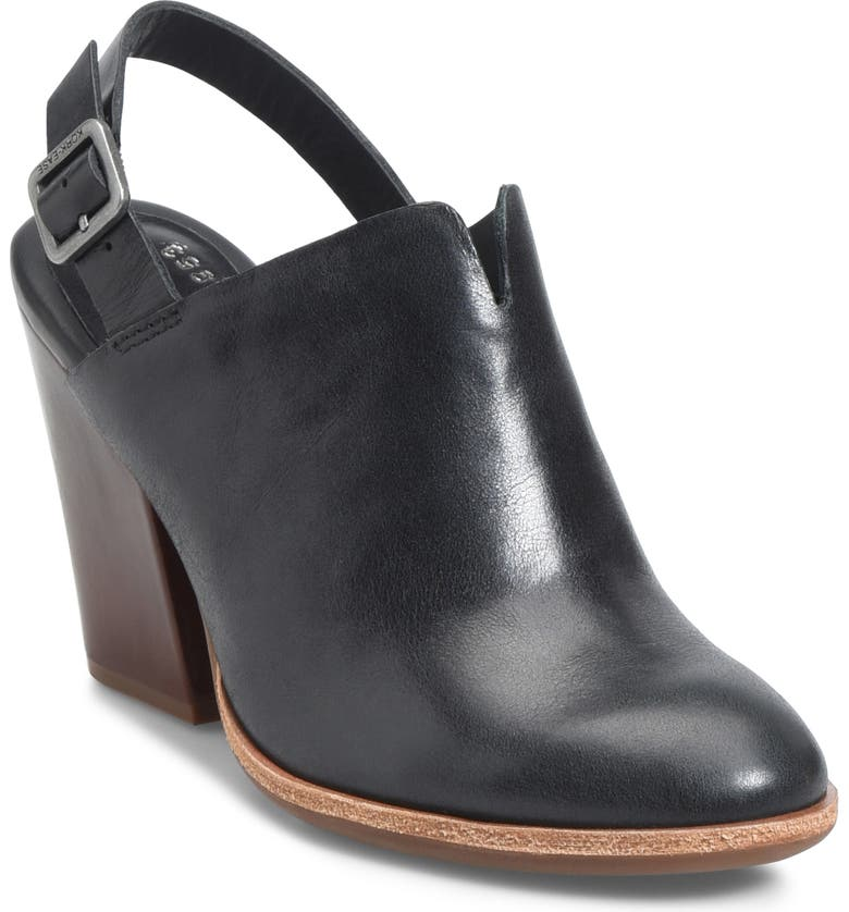 KORK-EASE<SUP>®</SUP> Janelle Slingback Clog, Main, color, BLACK LEATHER