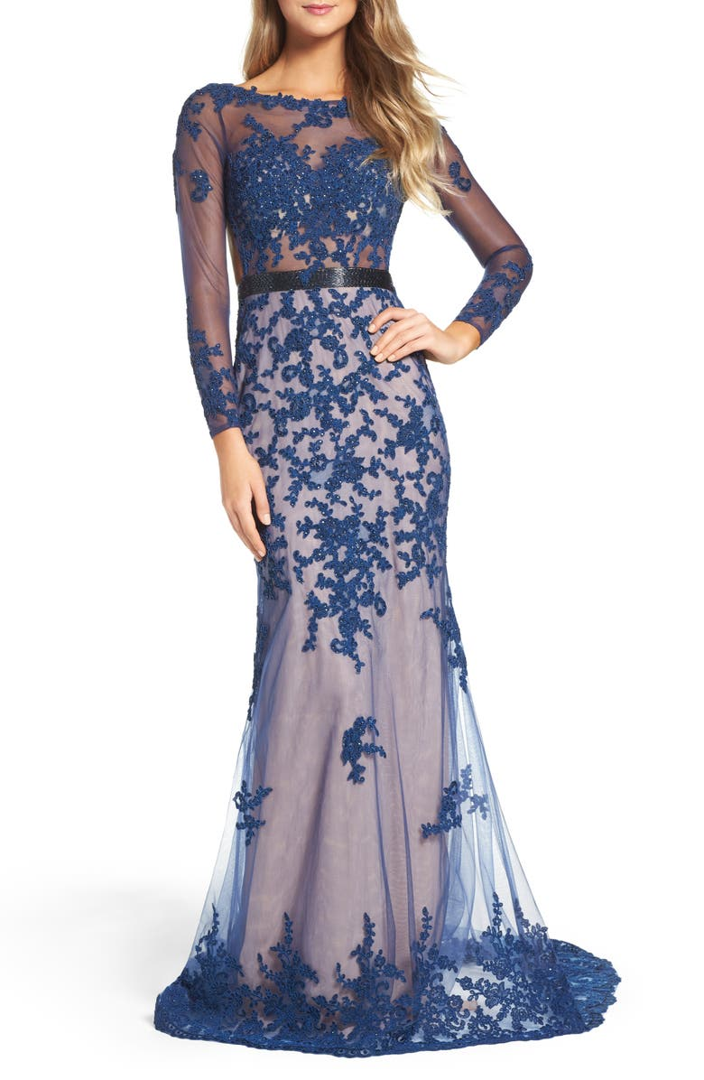 MAC DUGGAL Open Back Embroidered Tulle Gown, Main, color, SAPPHIRE