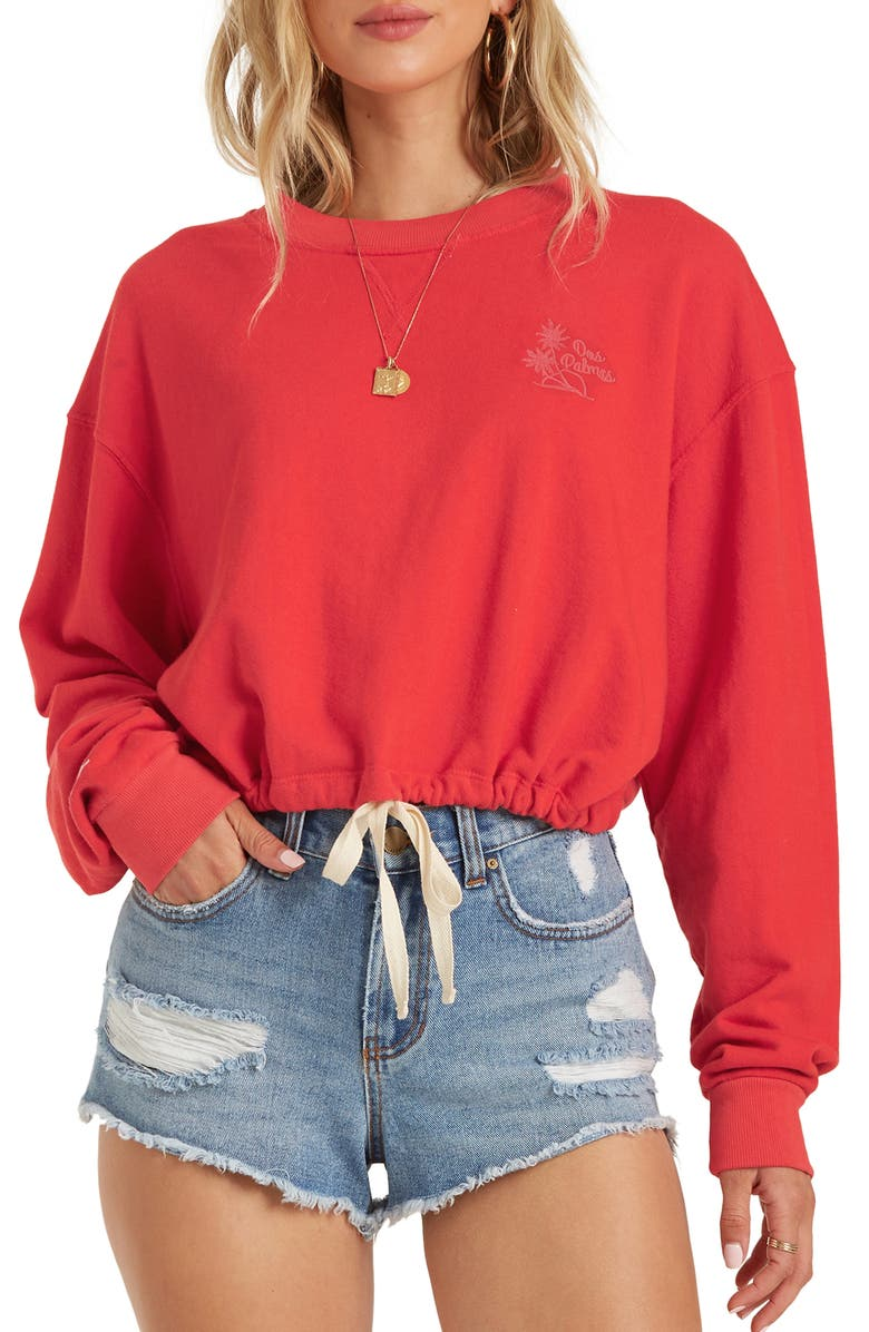 BILLABONG Faded in the Sun Crop Crewneck Sweatshirt, Main, color, 624