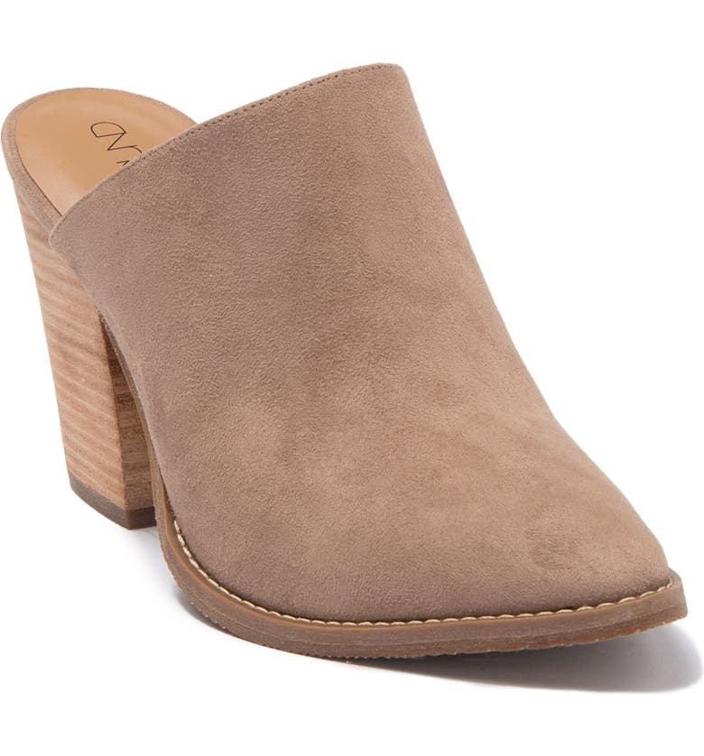 ABOUND Maya Block Heel Mule, Main, color, TAUPE FAUX SUEDE
