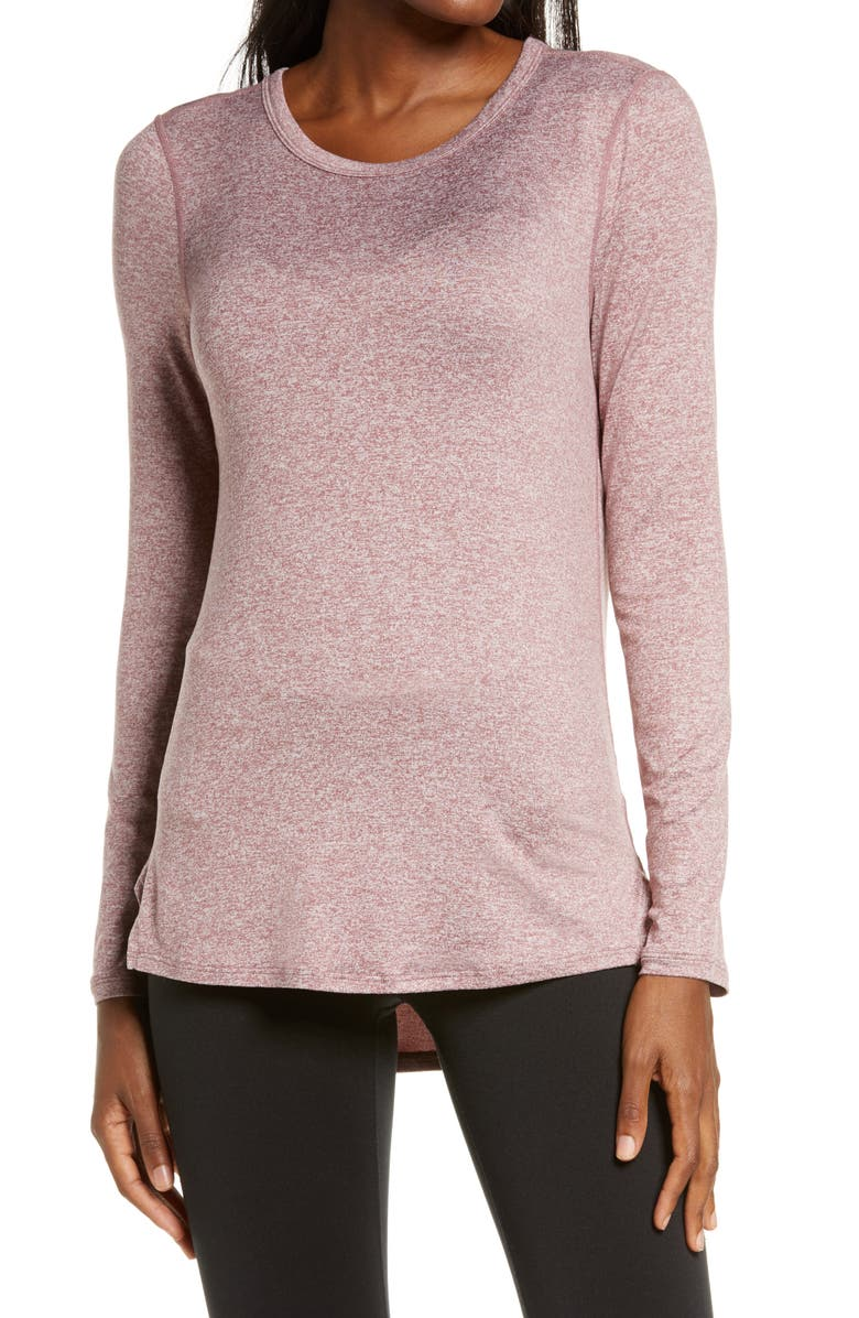 ZELLA Liana Long Sleeve Recycled Blend Performance T-Shirt, Main, color, PURPLE TAUPE
