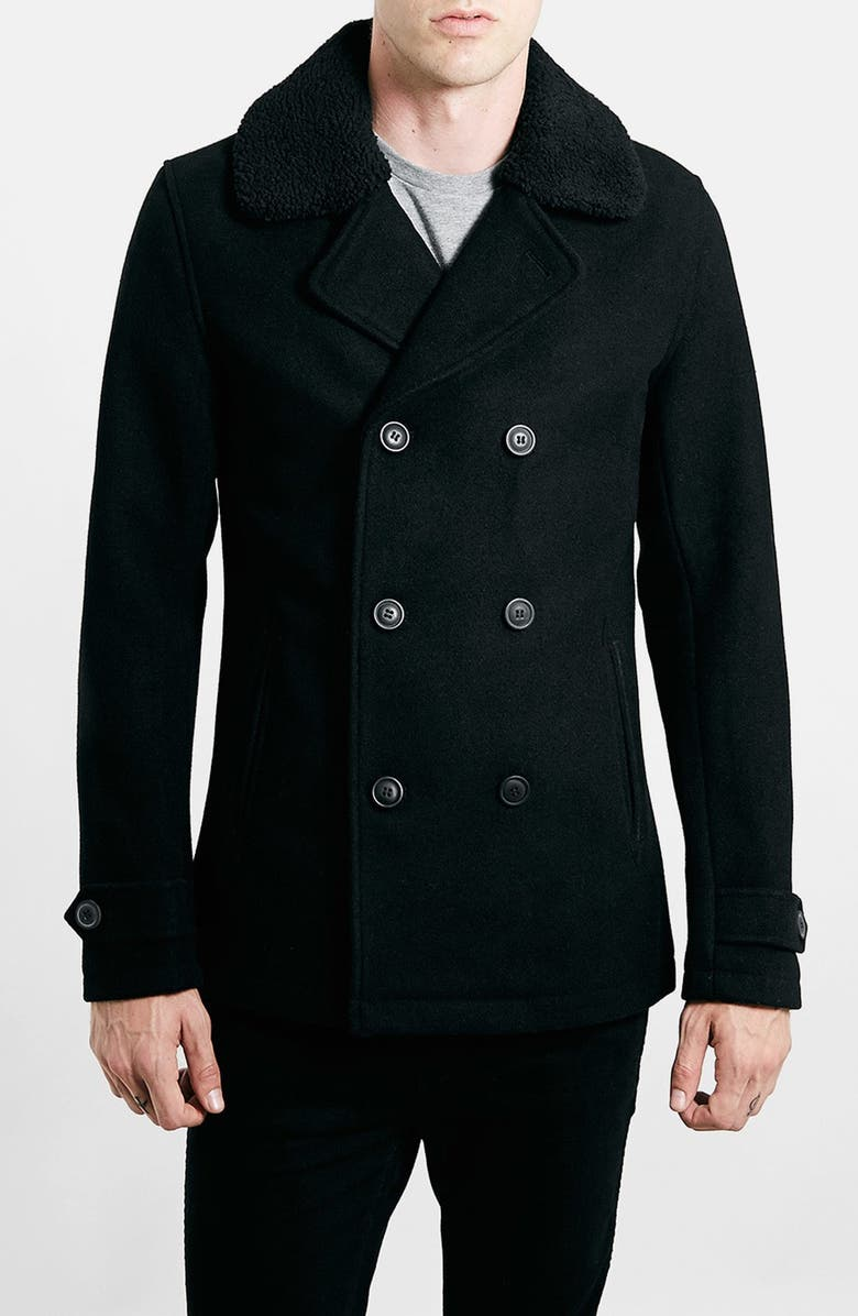 TOPMAN Peacoat with Removable Faux Fur Collar, Main, color, 001