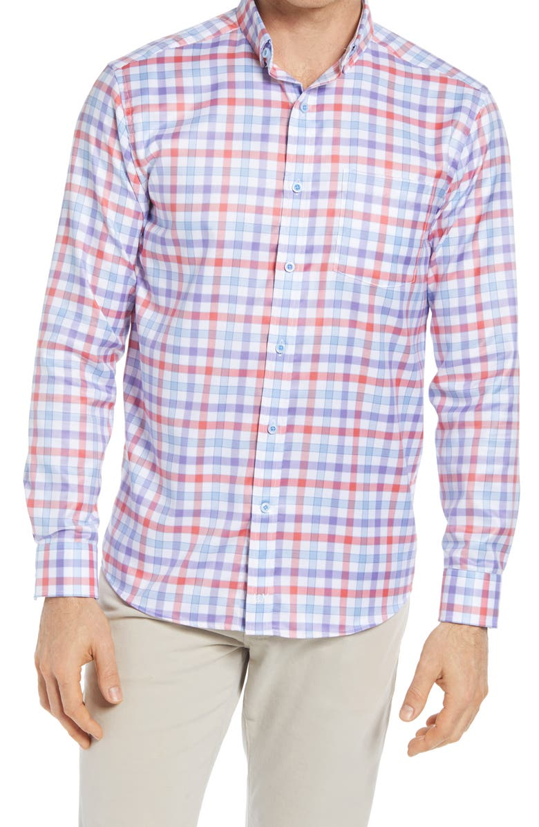 JOHNSTON & MURPHY Gingham Button-Up Shirt, Main, color, CORAL