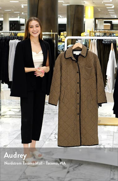 Houndstooth Quilted Long Coat, sales video thumbnail
