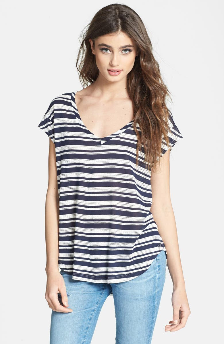 SPLENDID 'Marina' Stripe Eyelet Tee, Main, color, 411