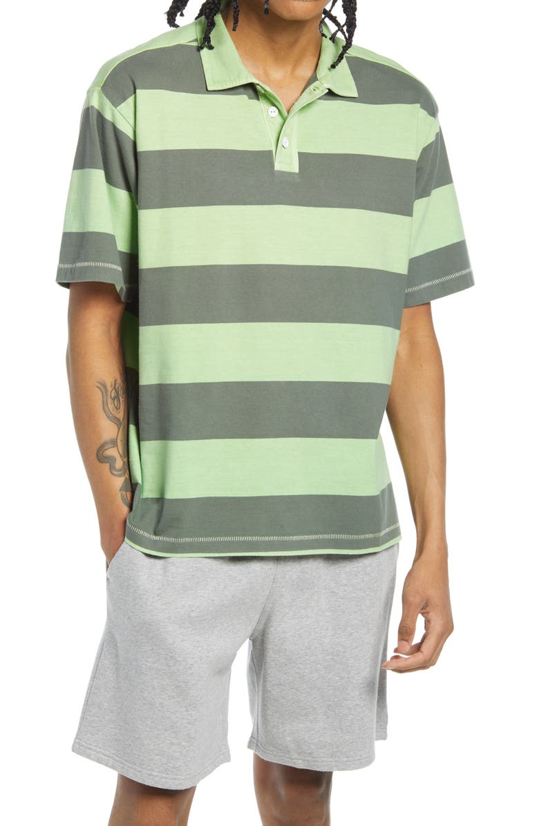 BP. Short Sleeve Rugby Polo, Main, color, GREEN ASH STRIPE