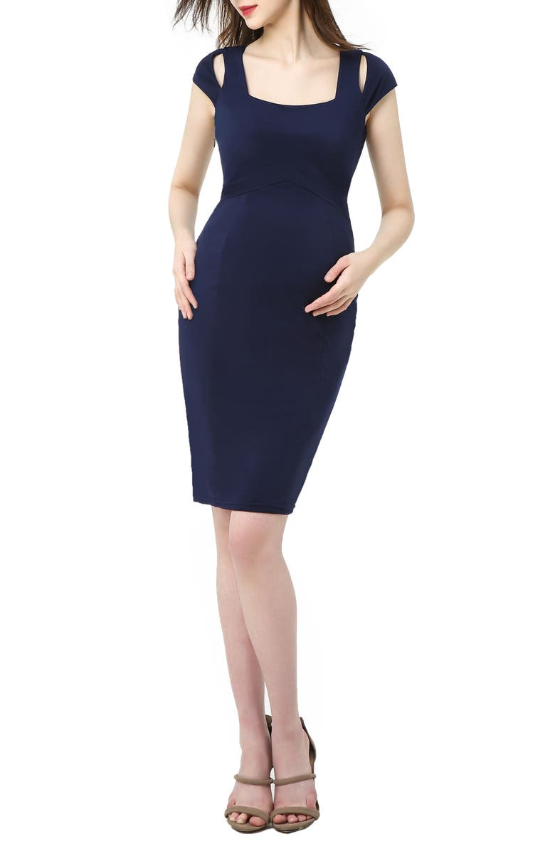 KIMI AND KAI Julie Cold Shoulder Body-Con Maternity Dress, Main, color, NAVY