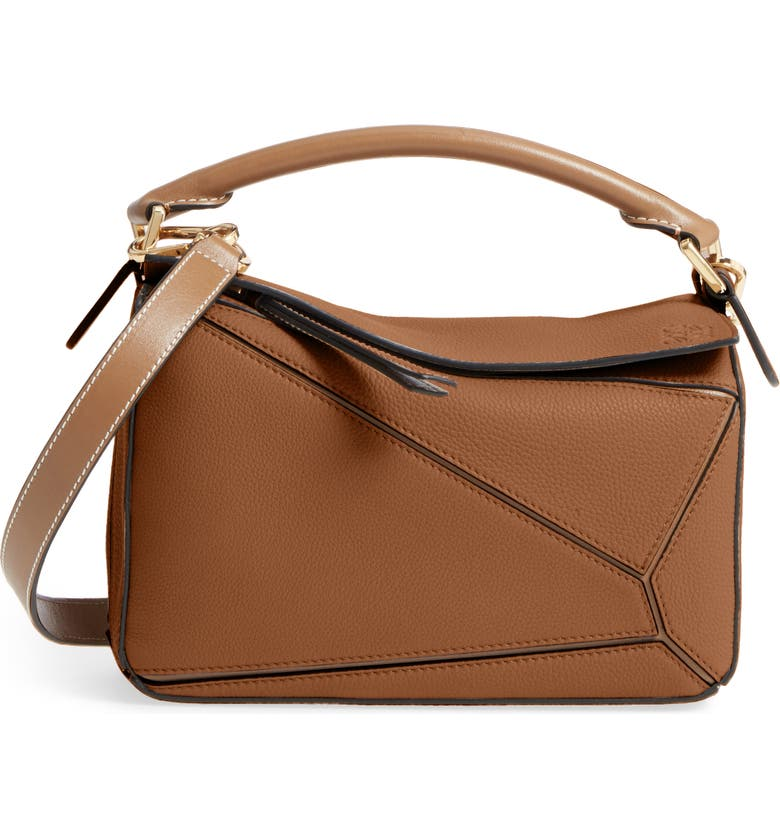 LOEWE Small Puzzle Leather Bag, Main, color, SAND/ MINK
