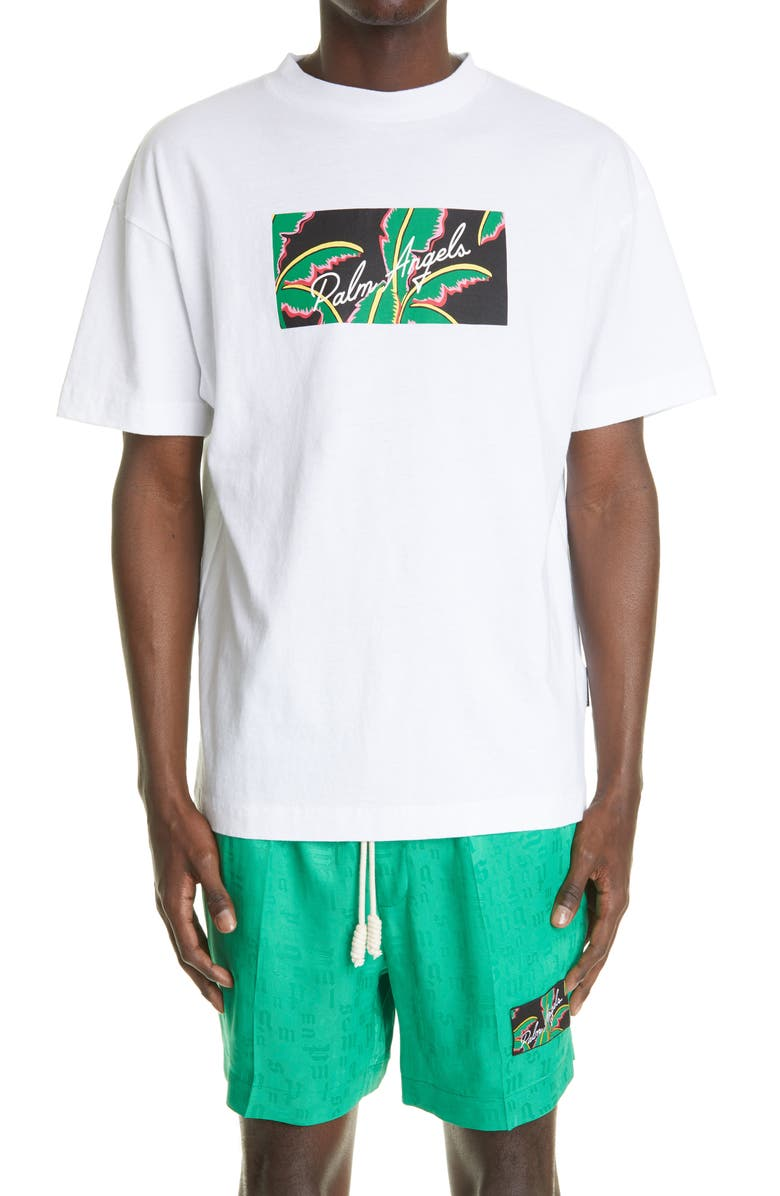 PALM ANGELS Men's Tropical Logo Graphic Tee, Main, color, WHITE