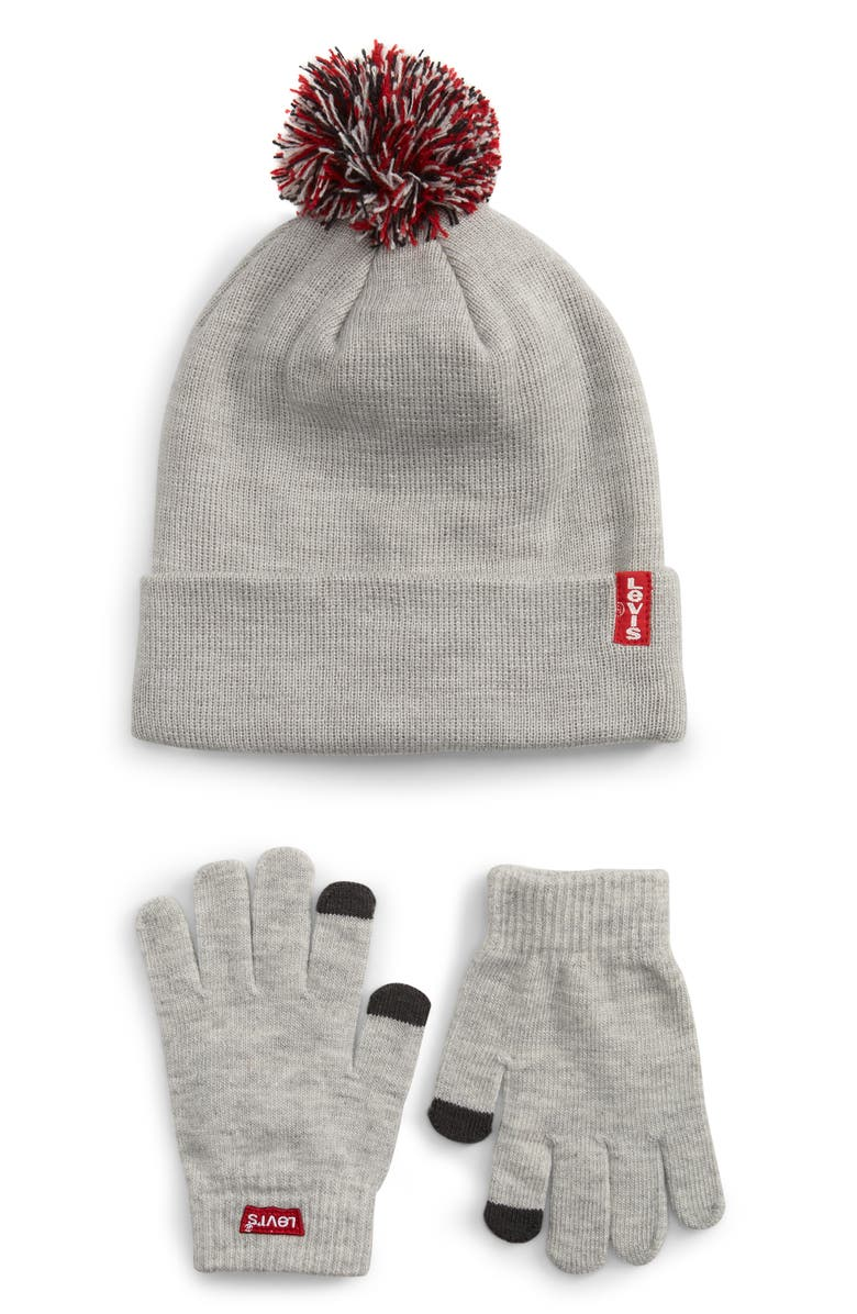 LEVI'S<SUP>®</SUP> Pompom Beanie & Touchscreen Gloves Set, Main, color, 052