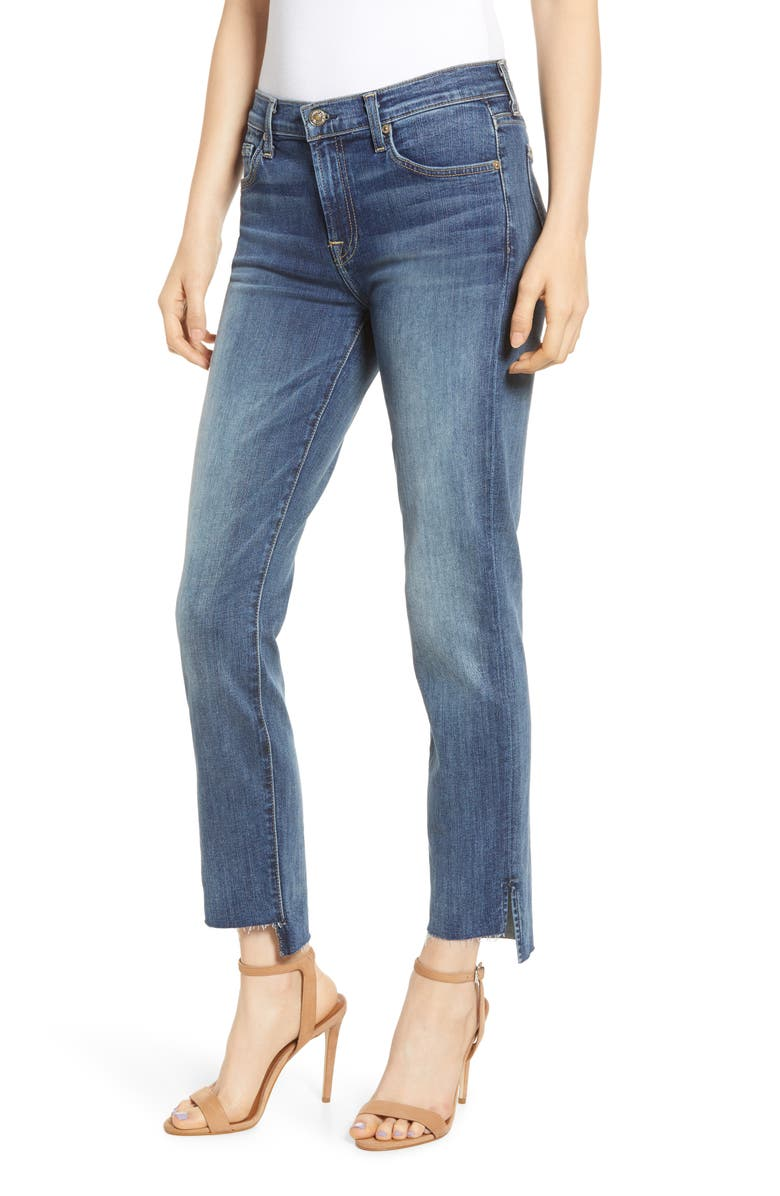 7 FOR ALL MANKIND<SUP>®</SUP> b(air) Roxanne Step Hem Ankle Slim Jeans, Main, color, 400