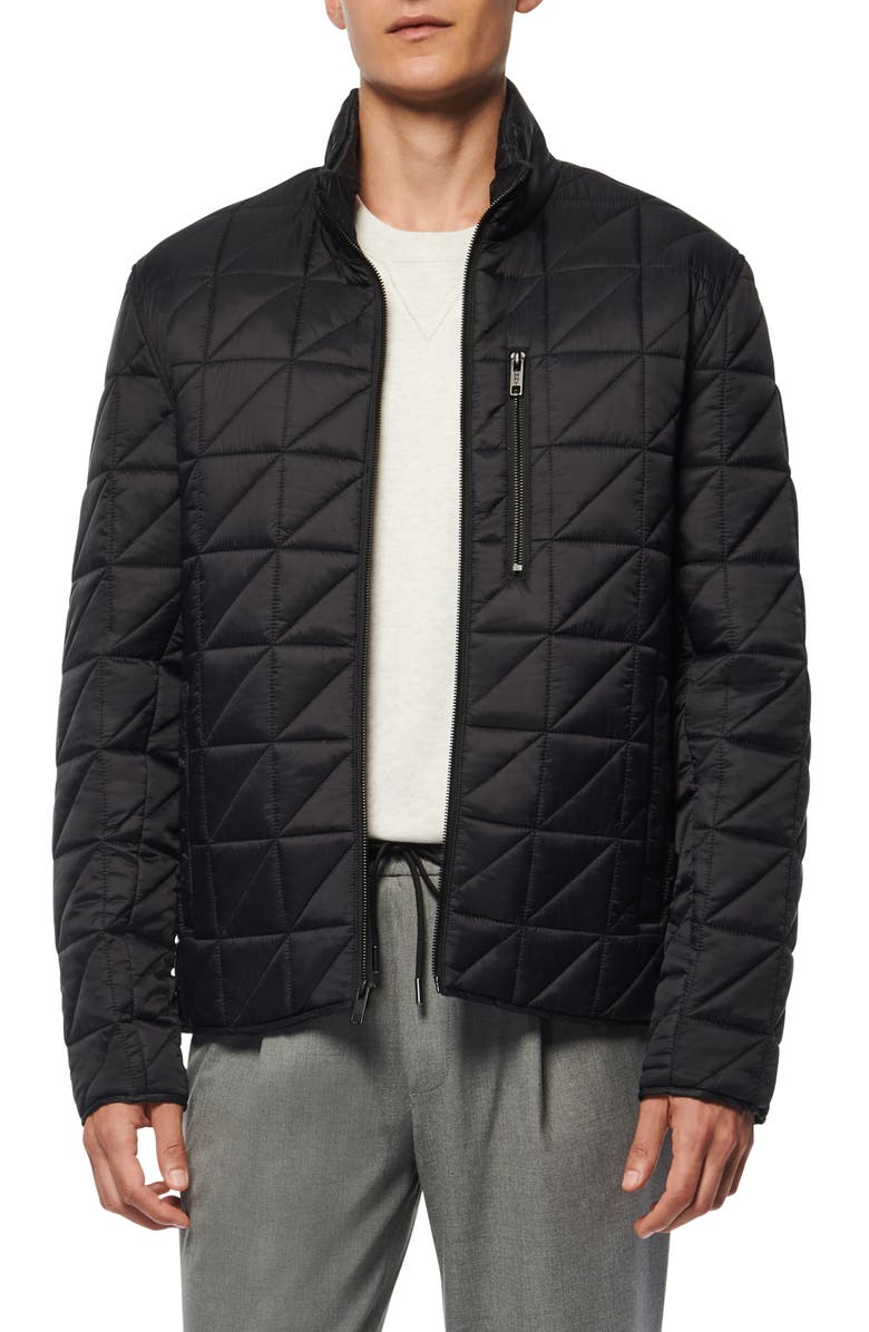 MARC NEW YORK Brompton Water Resistant Quilted Jacket, Main, color, BLACK