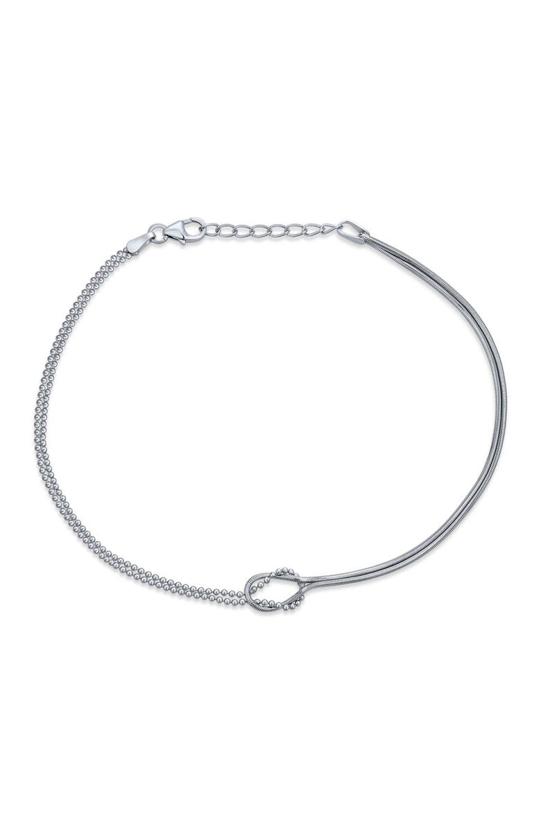 BLING JEWELRY Sterling Silver Infinity Bead & Cocoon Chain Anklet, Main, color, SILVER