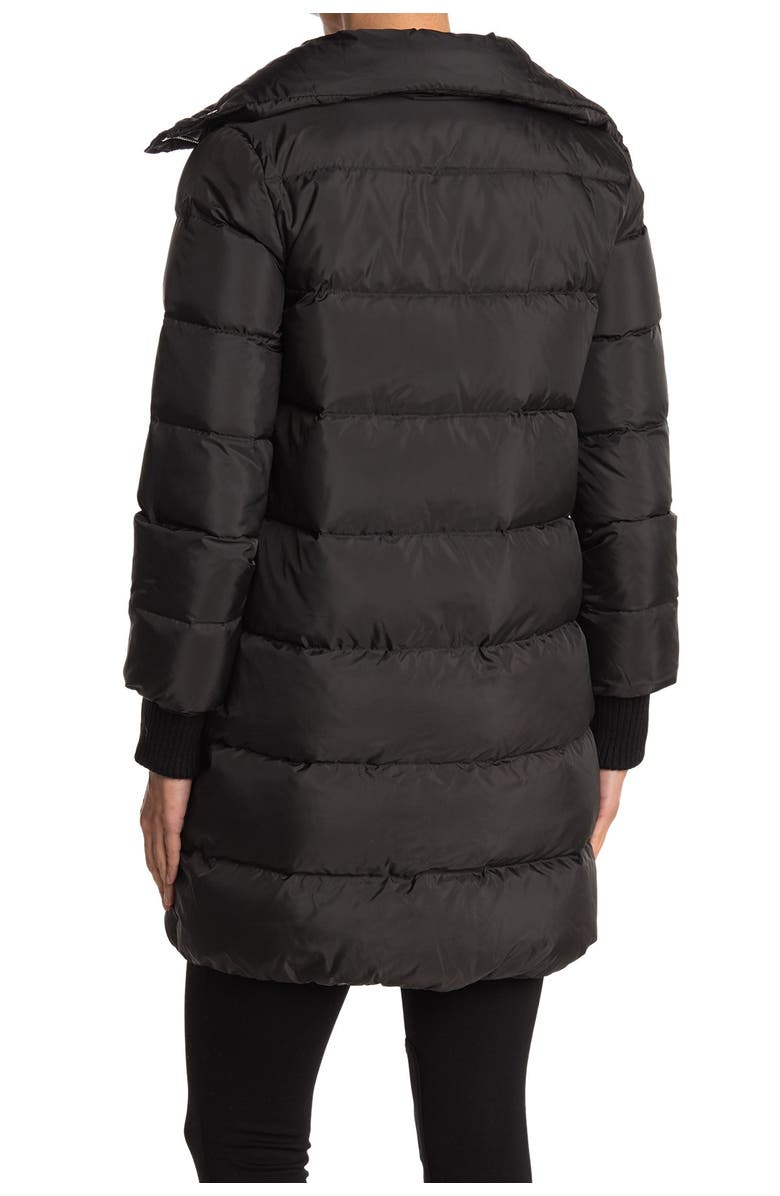 DVF Dallas Funnel Neck Quilted Puffer Coat, Main, color, BLACK