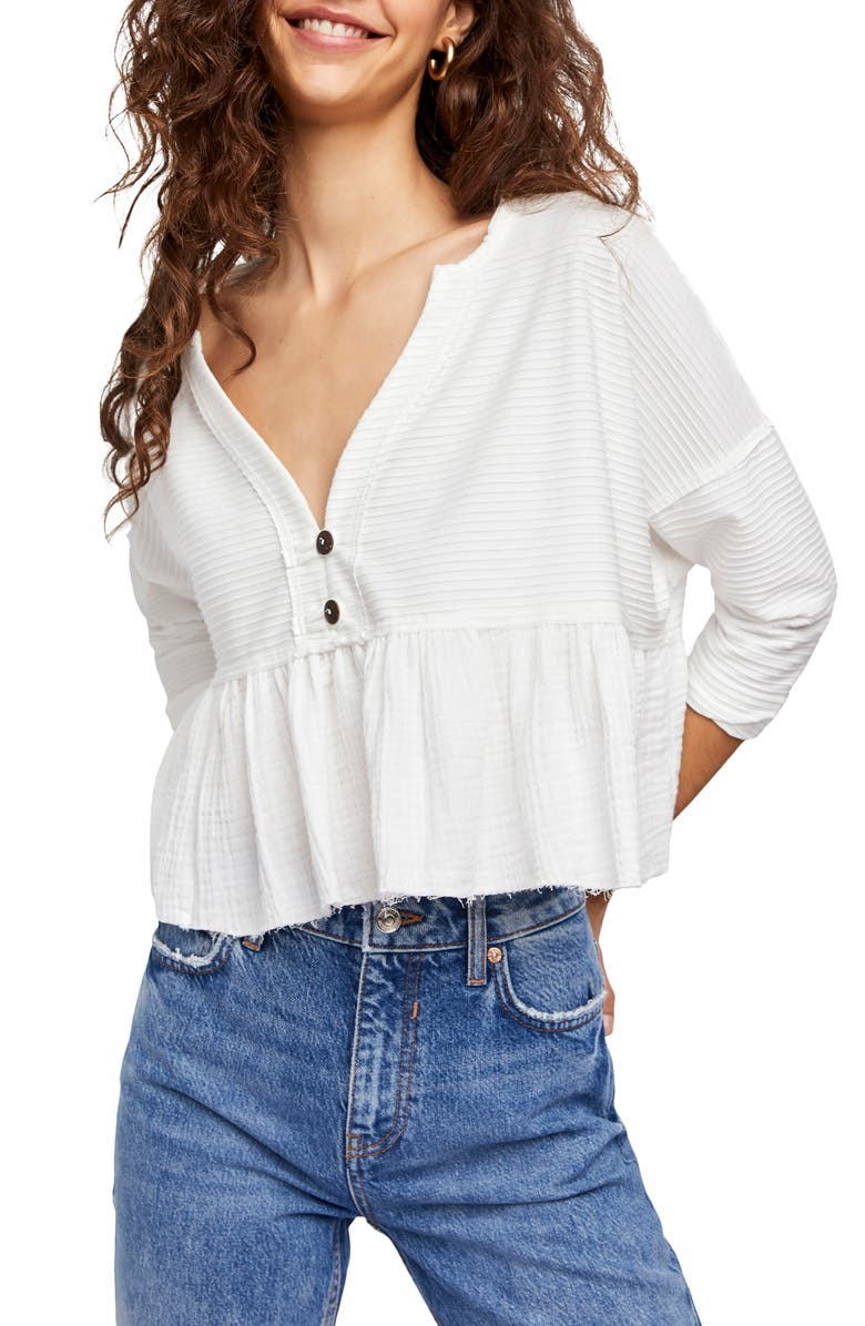 FREE PEOPLE Dallas Crop Henley Top, Main, color, WHITE