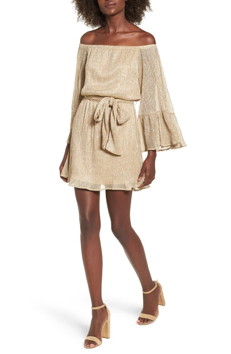 ALL IN FAVOR Metallic Flare Sleeve Off the Shoulder Dress, Main, color, GOLD METALLIC