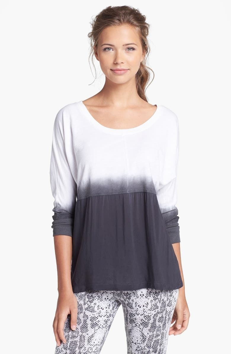 PINK LOTUS Dip Dyed Pullover, Main, color, CHARCOAL/ WHITE