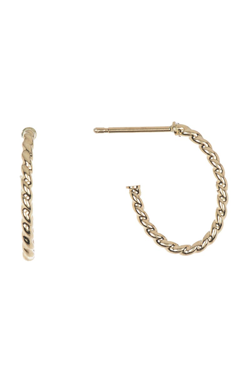CANDELA JEWELRY 14K Yellow Gold 3/4 Rope Hoop Earrings, Main, color, GOLD