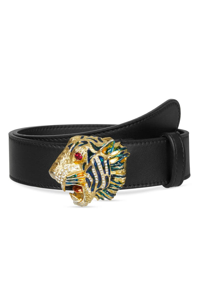 GUCCI Crystal Tiger Head Leather Belt, Main, color, 001