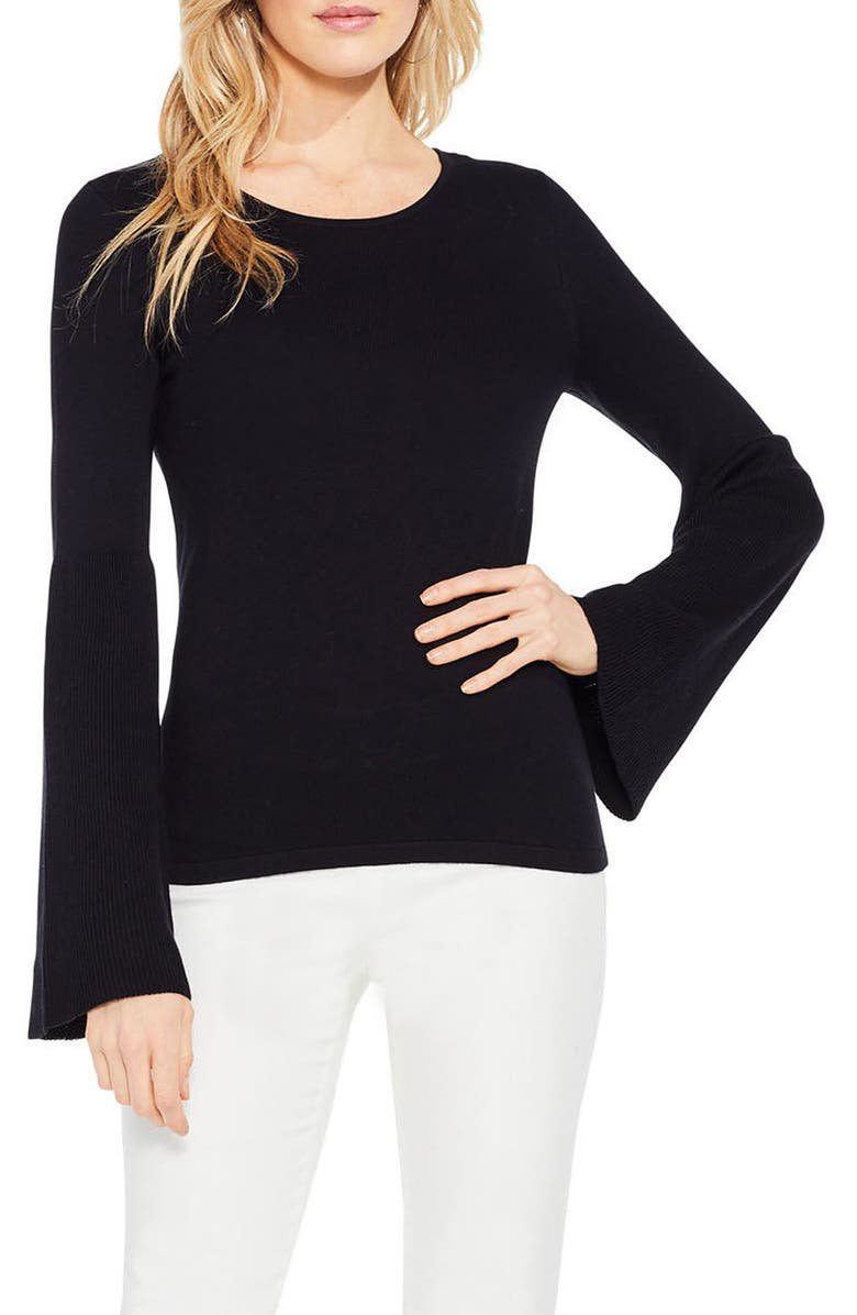 VINCE CAMUTO Ribbed Bell Sleeve Sweater, Main, color, RICH BLACK