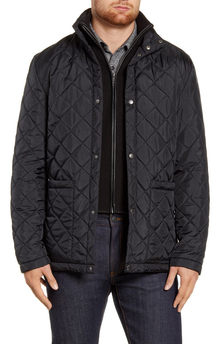 COLE HAAN Signature Quilted Jacket with Knit Bib, Main, color, 001