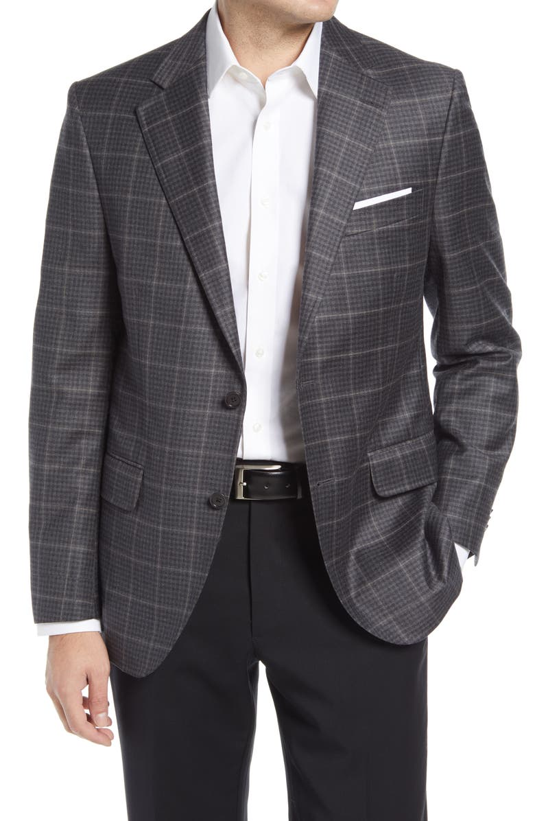 PETER MILLAR Flynn Classic Fit Check Wool & Cashmere Sport Coat, Main, color, GREY
