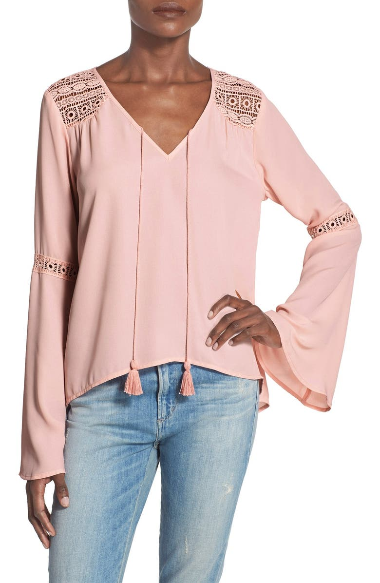 BAND OF GYPSIES Bell Sleeve Peasant Blouse, Main, color, Pink