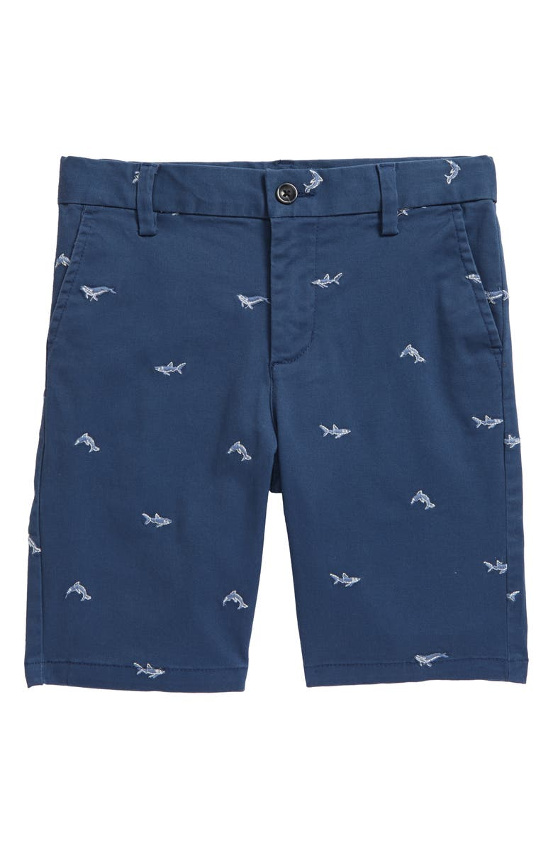 NORDSTROM Kids' Sea Creature Embroidered Chino Shorts, Main, color, NAVY DENIM SEA CREATURES
