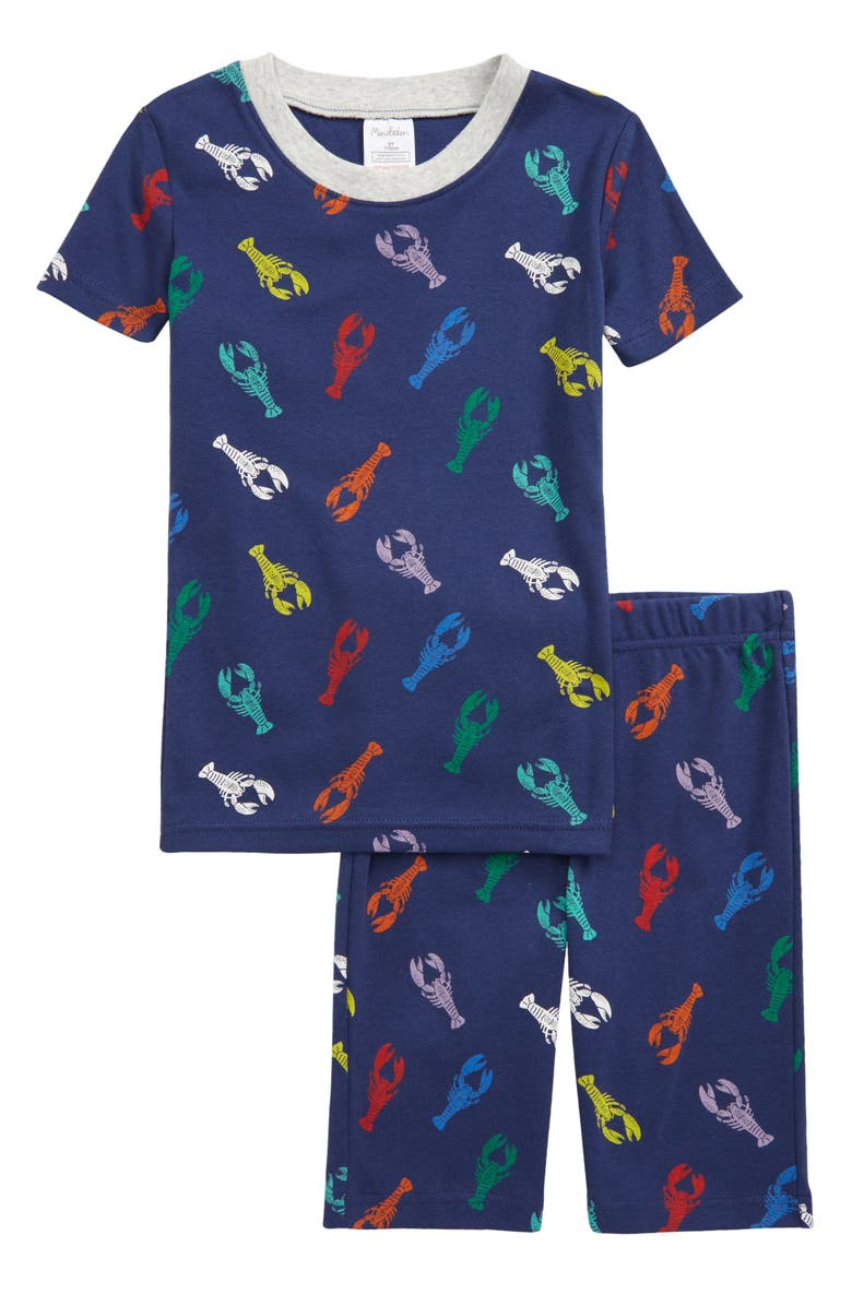 MINI BODEN Kids' Cosy Fitted Two-Piece Short Pajamas, Main, color, STARBOARD BLUE MULTI LOBSTERS